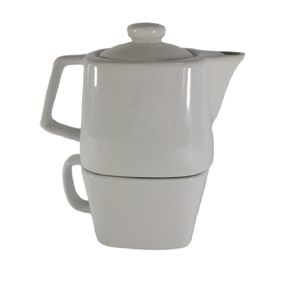 Square Teapot and Mug Stackable Tea-for-one